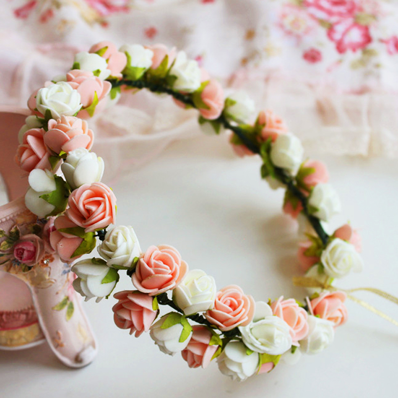 Fashion Rustic Hair Wreath Bridal Flower Crown Wedding Head Wreath Brown Floral  Headband Boho Hair Accessory Flower Crown 152527ceefc