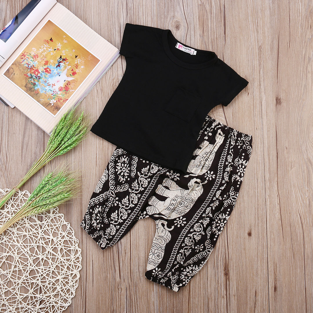 Cute Baby Kids Boys Girls Clothes Set Children Clothing Summer Costume Boy Girl Outfits Black Tops T-shirt Floral Pants 2-7Y fashion kids baby girl dress clothes grey sweater top with dresses costume cotton children clothing girls set 2 pcs 2 7 years