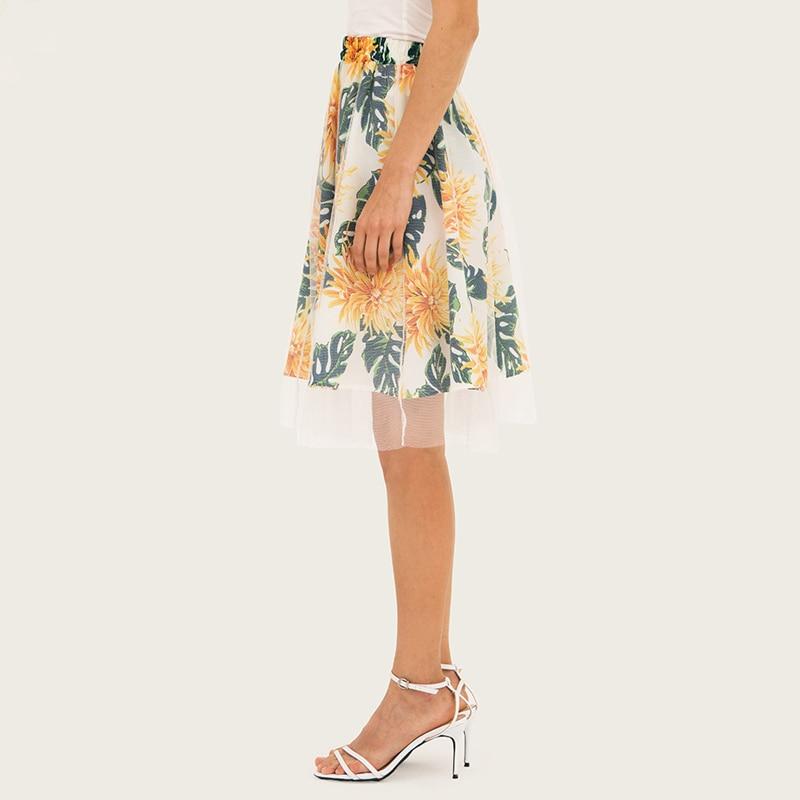 GOPLUS Boho Floral Print Lace Patchwork Skirts Women High Waist Midi Skirt Lady 2019 Spring Vintage Party Beach Skirts Female