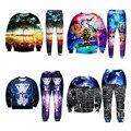 Nuevo de las mujeres de los chándales de los hombres galaxy espacio impreso 3d psicodélico animales/árboles chándales sudaderas + pantalones unisex clothing sets