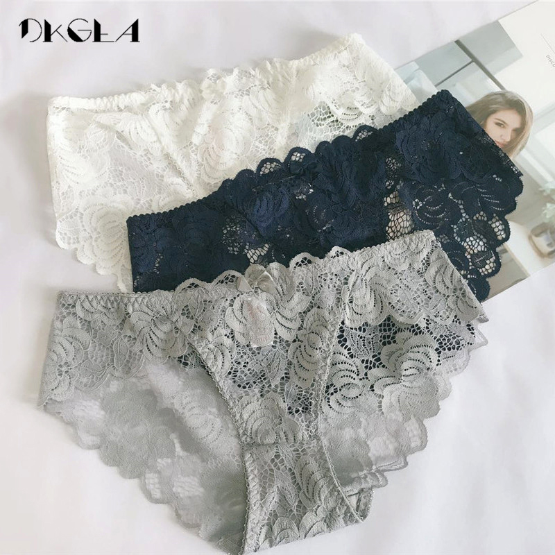 2019 New Sexy Panties 3 Piece White+Black+Blue Lace Underwear  Plus Size Low-rise Panty Transparent Women Briefs Embroidery