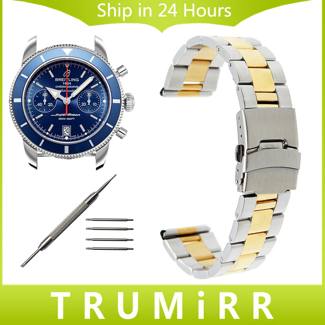 Pulseira de aço inoxidável 18mm 20mm 22mm 24mm + ferramenta para faixa de relógio breitling fivela de segurança strap pulseira de prata ouro negro