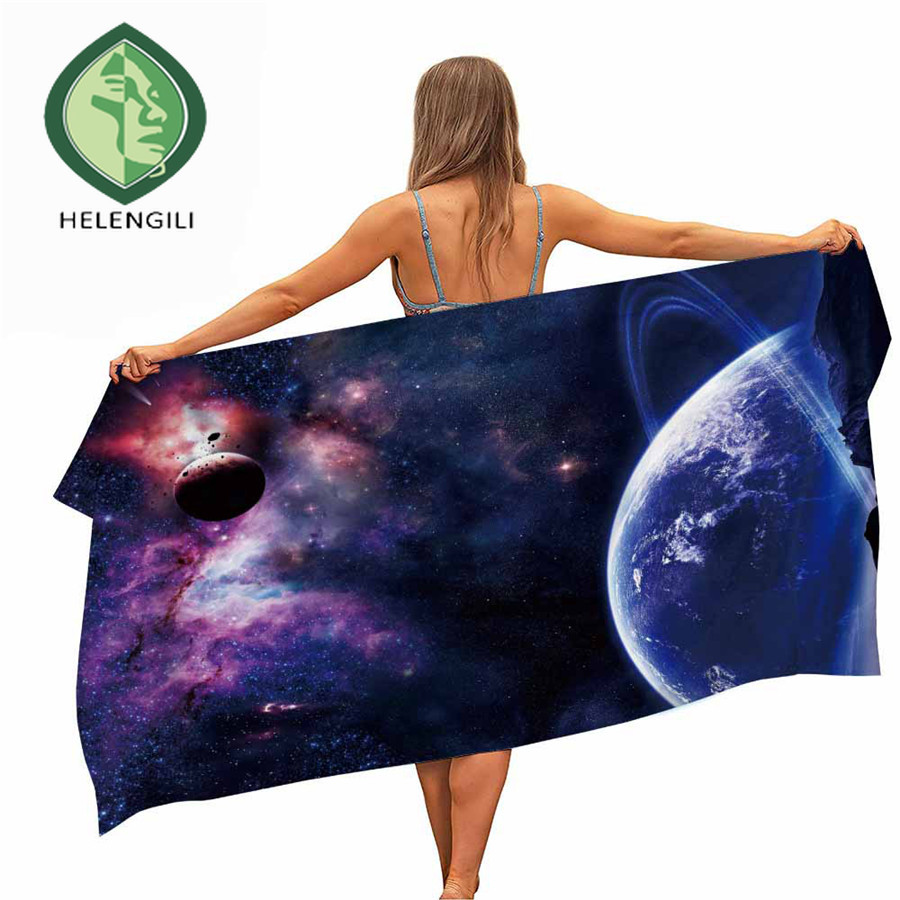 HELENGILI Starry Galaxy Microfiber Pool Beach Towel Portable Quick Fast Dry Sand Outdoor Travel Swim Blanket Thin Yoga Mat
