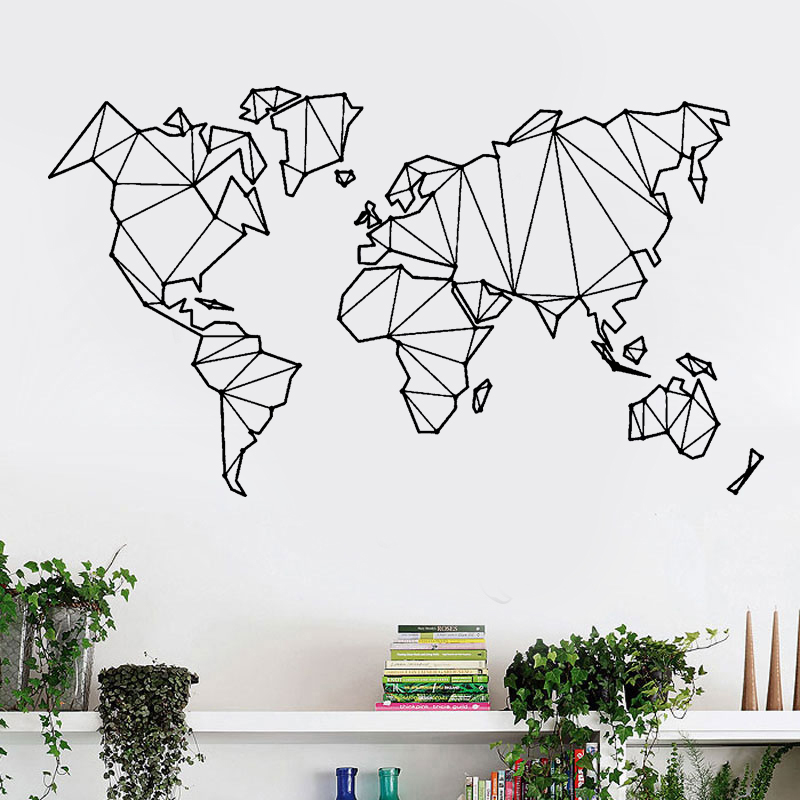 Abstract Map Of The World.Abstract Map World Geography Earth Stickers Vinyl Wall Decals