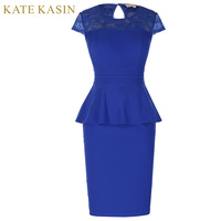 Kate Kasin Women Sexy Lace Hollow Out Bandage Pencil Dress Summer Office Work Suit Plus Size