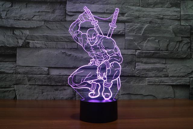 7-Color 3D Deadpool A LED Light (Visual illusion)
