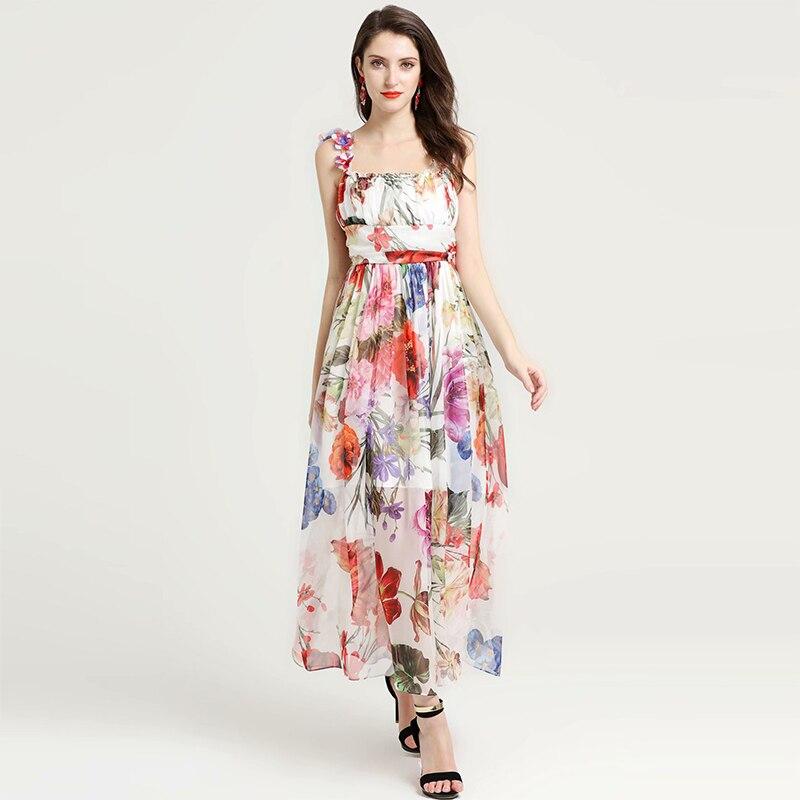 2019 printemps été fille imprimer robe de haute qualité assez mince Sexy chaud femmes vacances longue robe florale