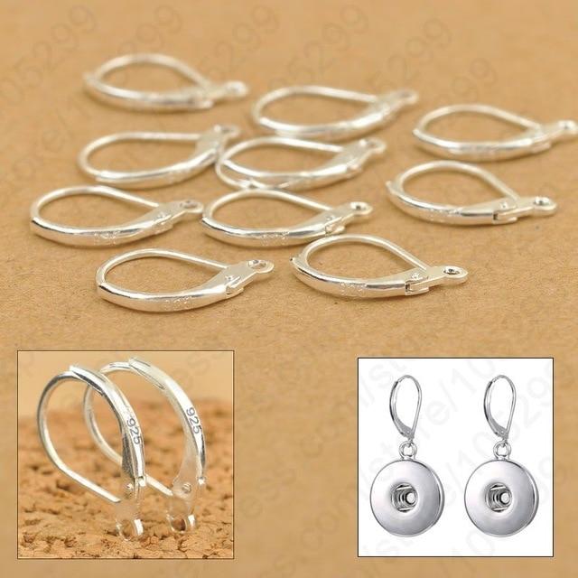 100PCS 925 Sterling Silver DIY Beadings Findings Earring Hooks Leverback Earwire Fittings Components