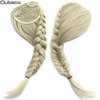 Oubeca queue de poisson synthétique tressé dégradé frange faux cheveux Bang avant tresses frange Clip dans Extensions de cheveux pour les femmes