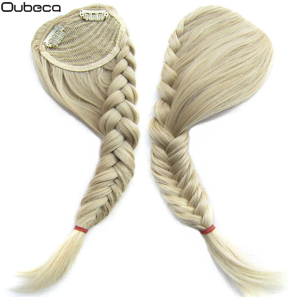 Oubeca Synthetic Fishtail Plaited Braided Gradient Bangs Fake Hair Bang Front Braids Fringe Clip In Hair Extensions For Women