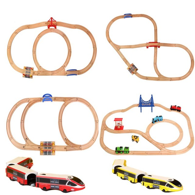 DIY Wood Train Track set Accessories Wooden Railway Straight and Curved Expansion Track Motorized Electric Train Master Toys