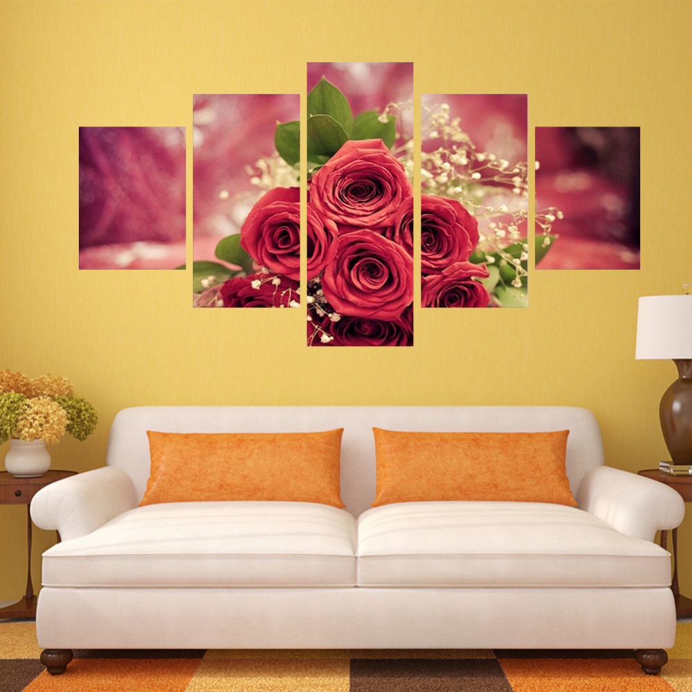 Fashion 5pcs Home Decor Picture Printed Modern Abstract Huge Rose ...
