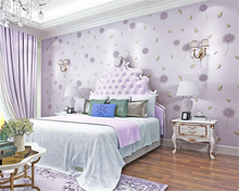 beibehang compact embossing pink dandelion feather bedroom 3d wallpaper fresh pastoral nonwoven childrens room wall paper