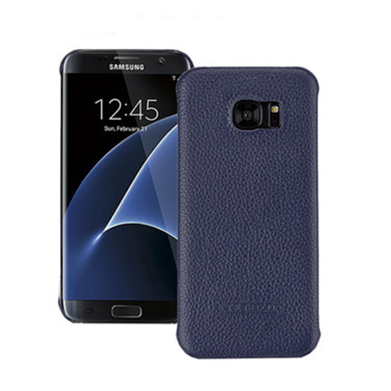 For Samsung S7Edge G9350 Case Litchi Grain Genuine Leather Back Phone Shell Cover for Samsung Galaxy S7 Edge Cases 5.5inch