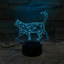 Cat LED Night Light 3D Illusion 7 Color Changing Decorative Light Child Kids Girl Gift Animals Cute Cat Desk Night Lamp Bedside