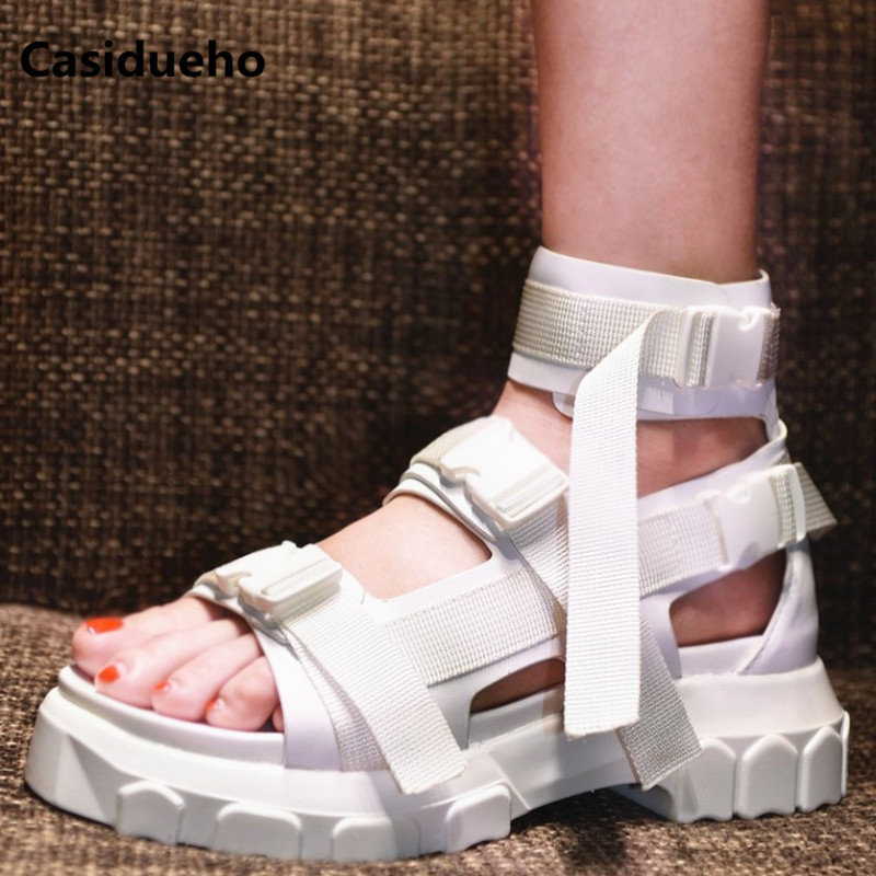 Casidueho Ribbon Sandalias Mujer Ankle Strap Shoes Woman Summer Botas Leather Rome Gladiator Sandals Women Platform Shoes Flats handmade rome gladiator sandals women flats fringed tie up woman sandals shoes fur cross strap pompom sandals sandalias mujer 94