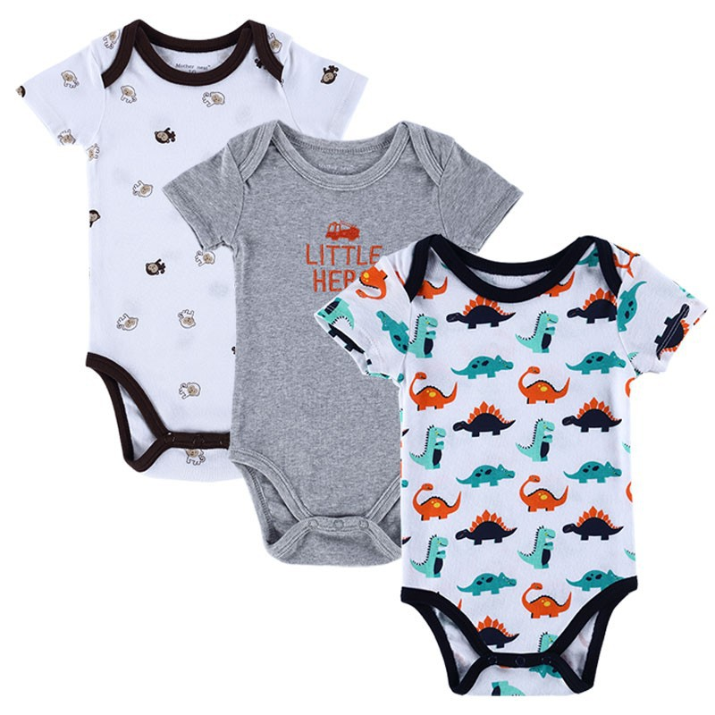15105910 BABY BODYSUITS 3PCS 100%Cotton Infant Body Bebes Short Sleeve Clothing Similar Jumpsuit Printed Baby Boy Girl Bodysuits