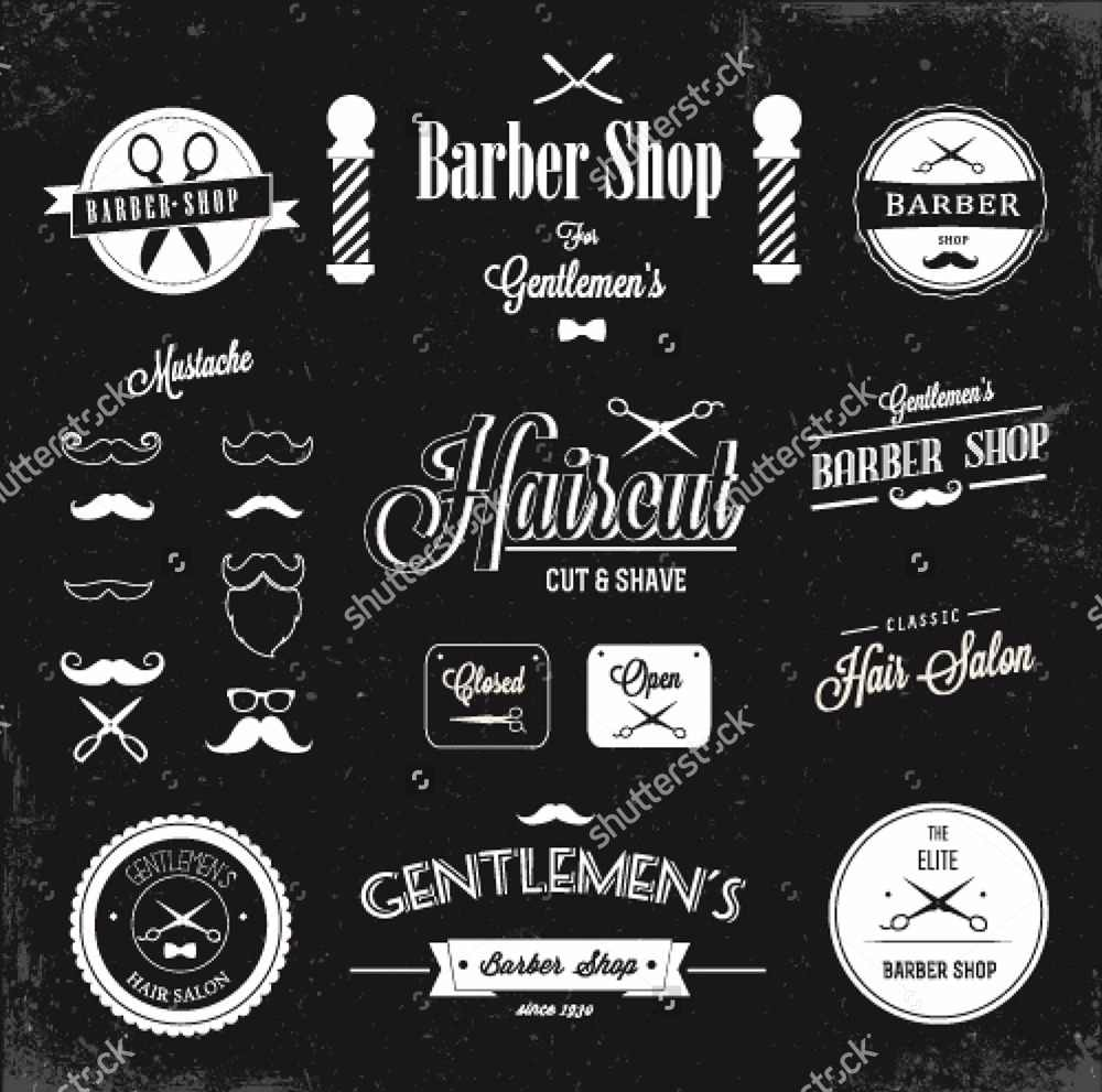 Custom Barber Wallpaper Barber Shop Labels And Icons 3d Modern For Living Room Sofa Background Papel De Parede Pvc
