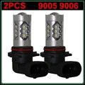 Nuevo 2 unids/lote Alta Potencia LED HB3 9005 auto Luz de Niebla de Conducción bombillas DRL de La Lámpara 9005 80 W Coche Faros LED Blanco 6000 k Bajo haz