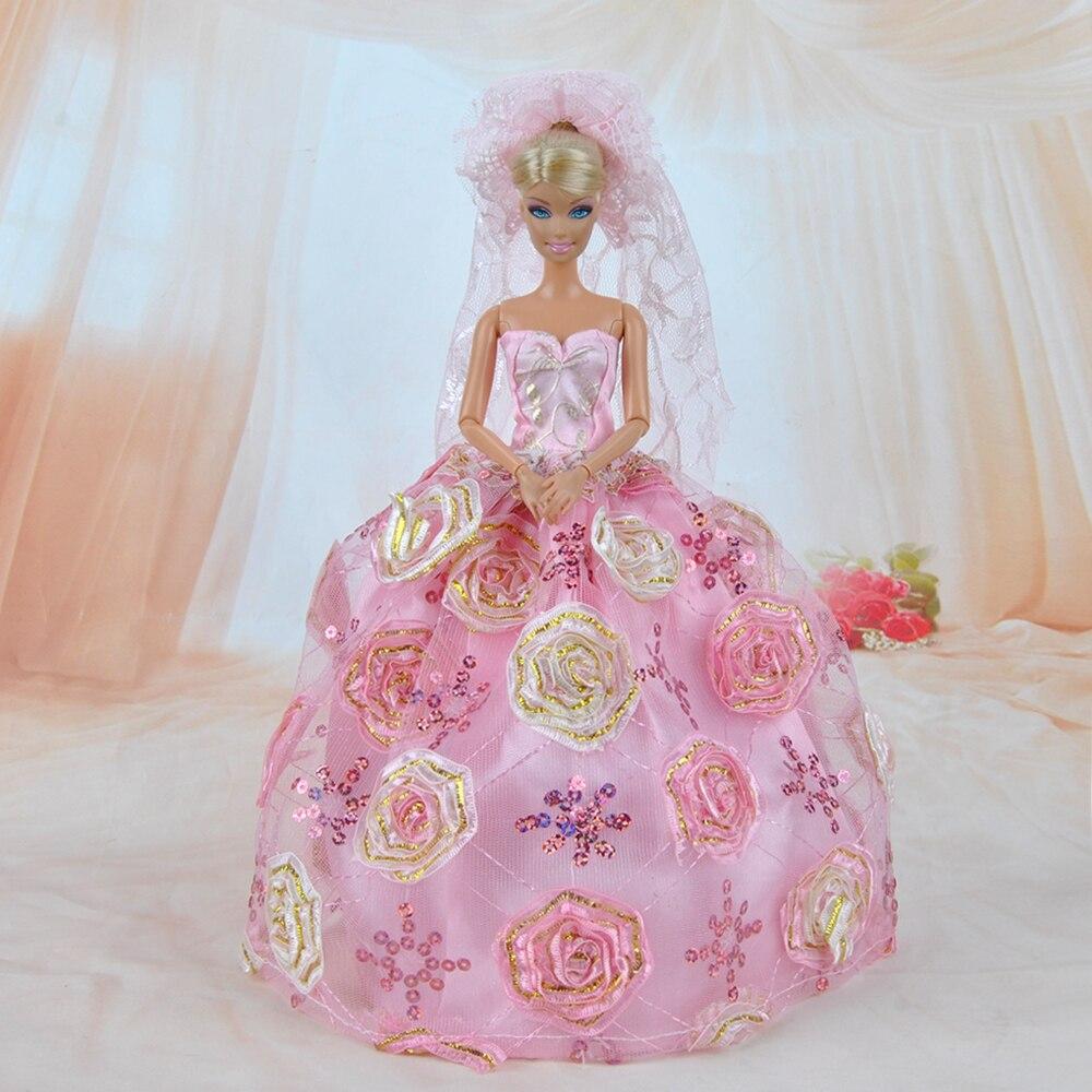 E TING Puppe Kleidung Mode Mädchen Anzug Hochzeit Rosa Rose Blumen ...