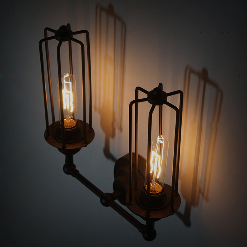 Loft Industrial iron rust Water pipe retro wall lamp Vintage e27 sconce lights for living room bedroom restaurant bar 2 heads