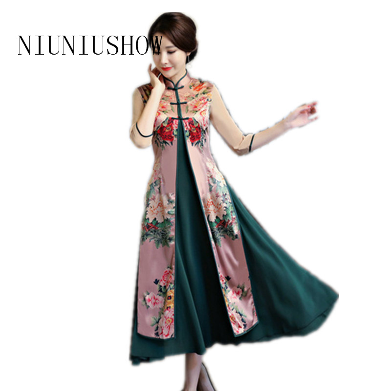 High Fashion Vietnam Ao Dai Dress Elegant Rayon Satin Chinese Style QiPao Half Sleeve Sexy Print