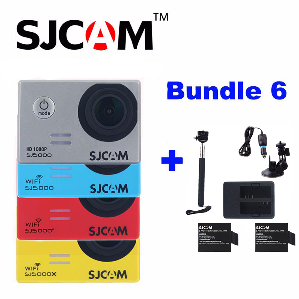 SJCAM SJ5000X Elite Sj5000 Plus SJ5000 WIFI Sj5000  Action Sports Camera With 2Battery+Dual Charger+Selfie Stick+Car Charger original sjcam sj5000x elite sj5000 plus sj5000 wifi sj5000 30m waterproof sports action camera sj cam dv with many accessories