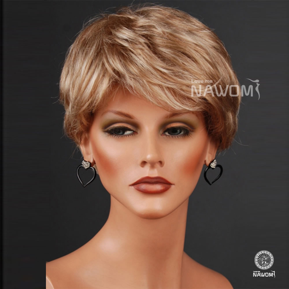 Hot Quality Highlights Highlights Personality Fashion Modeling Sexy Natural Princess Diana Light Gold Short Hair Wig Wig Hair Band Hair Thickenerswig Short Hair Aliexpress