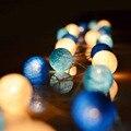 Azul Bola de Algodão Luz Luzes Ao Ar Livre LED Luzes Cordas de Fadas Do Casamento Guirlanda Decoração de Natal Holiday Party Guirnalda luces