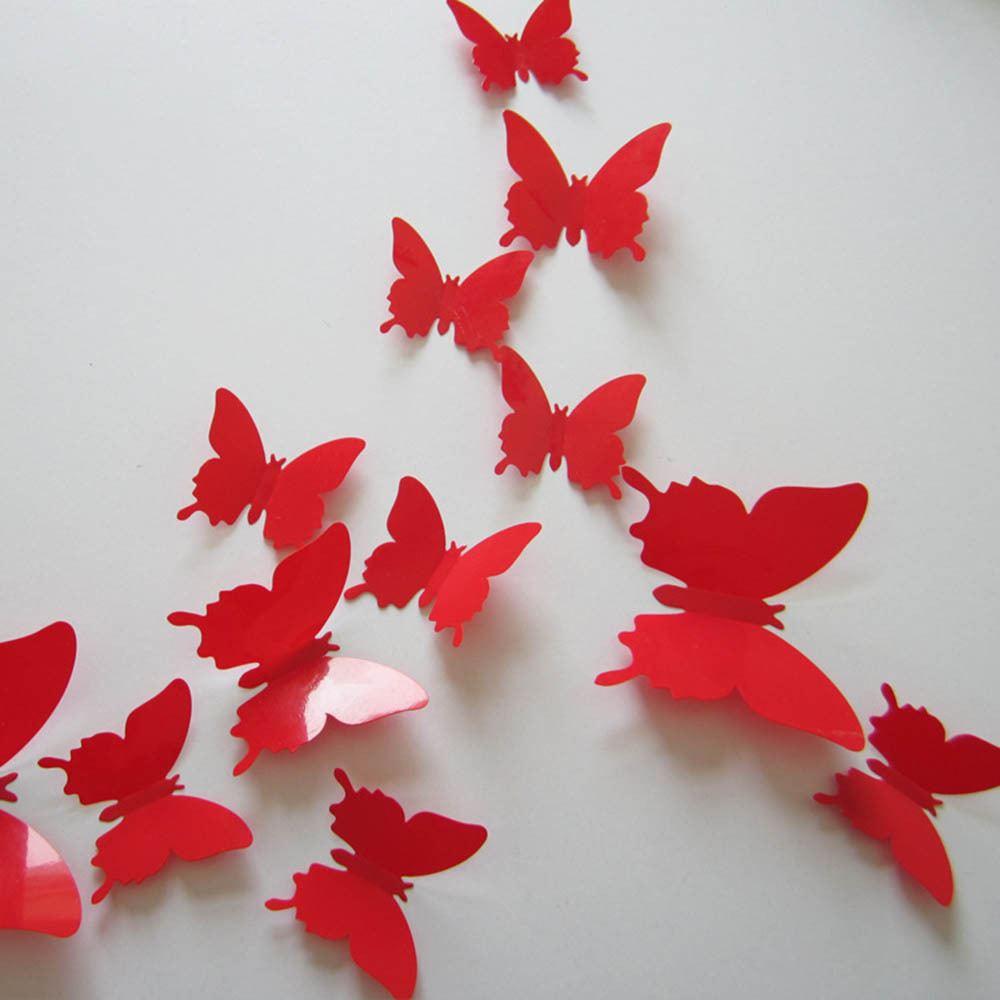 12 pc 3D Trendy Butterfly Wall Stickers Room Art DIY Decoration Paper Home Decor ...