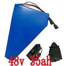 48 В 35AH треугольная батарея 48 В 35ah Электрический велосипед Батарея 48 В 2000 Вт использовать sanyo литиевая Батарея с 54,6 В Зарядное устройство + сумка
