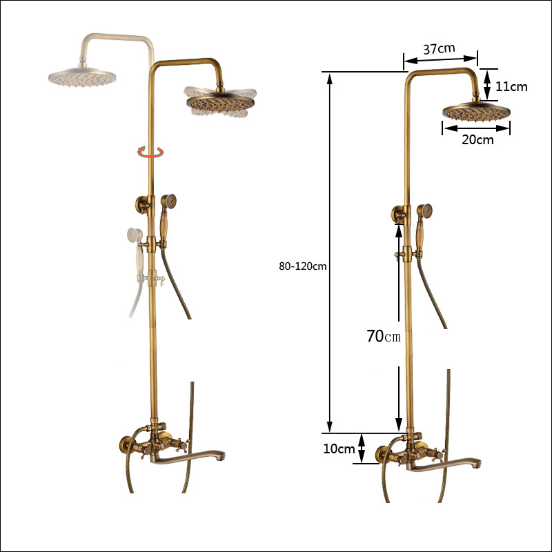 Brass Antique Shower Mixer with Handshower Wall Mounted 25cm Long Spout Bath Shower Faucet Rainfall Brass Showerhead-in Shower Faucets from Home Improvement    2
