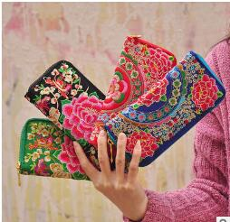 Zipper Wallet Purse Folk-Style Embroidered Bags Hand-Bag Multi-Card Feature Frans-G Lady
