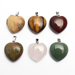 Natural Gemstone Necklace Pendant 30mm Heart Pendant Yellow Tiger Unakite Jasper Rose Quartz Stone Charms Jewelry