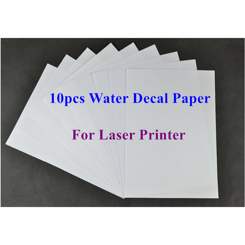 (10pcs/lot) A4 Clear/Transparent Paper Water Slide Decal Paper Laser Water Transfer Paper For Glass Waterslide Decal Paper Spray