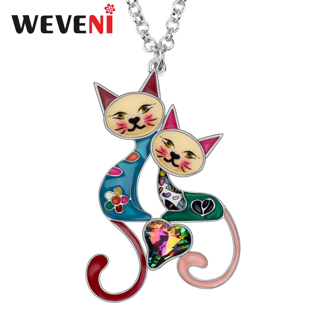 WEVENI Enamel Alloy Rhinestone Crystal Cat Necklace Pendant Cute Pets Jewelry For Women Girls Best Friends Gift Accessories 2019
