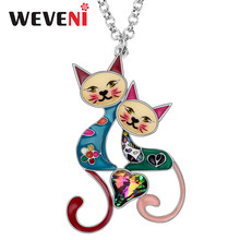 WEVENI Enamel Alloy Rhinestone Crystal Cat Necklace Pendant Cute Pets Jewelry For Women Girls Best Friends Gift Accessories 2019(China)