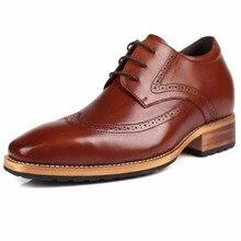 Итальянский Стиль Для мужчин; броги Туфли под платье увеличилась уверенность в себе лифт обувь из натуральной кожи, увеличивающие рост 8 см/3,14»