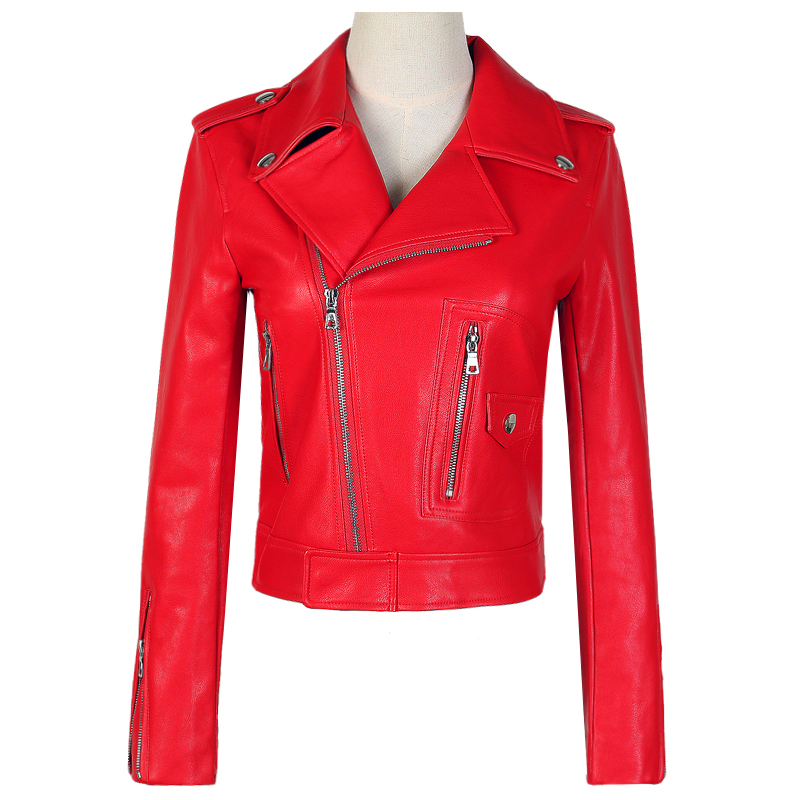 Automne Manteaux En Femme Outwear Femmes Zip Mince Nouvelle Rivet Noir Cuir Down rouge L'europe Rouge Mode Poches Haute Turn Pu Collar Court Vestes 7HEnwaq