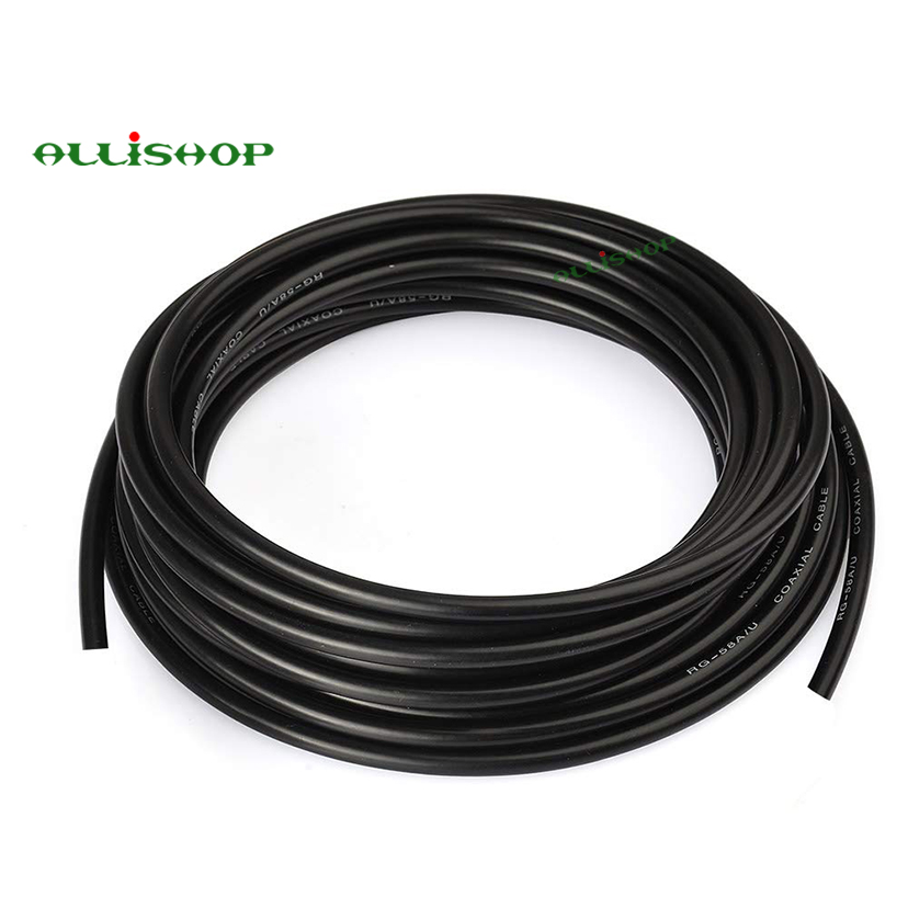 RF Coaxial Cable RG-58 RG58 RG58U Cable Wires Black RG58/AU Pure Copper Coaxial Cable