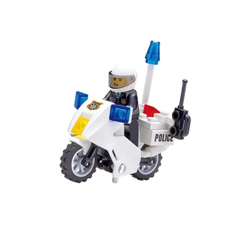 StZhou Police Motorcycle Playmobile Building Blocks Police Motorbike Bricks Kids Boys Birthday Gift Toys for Children