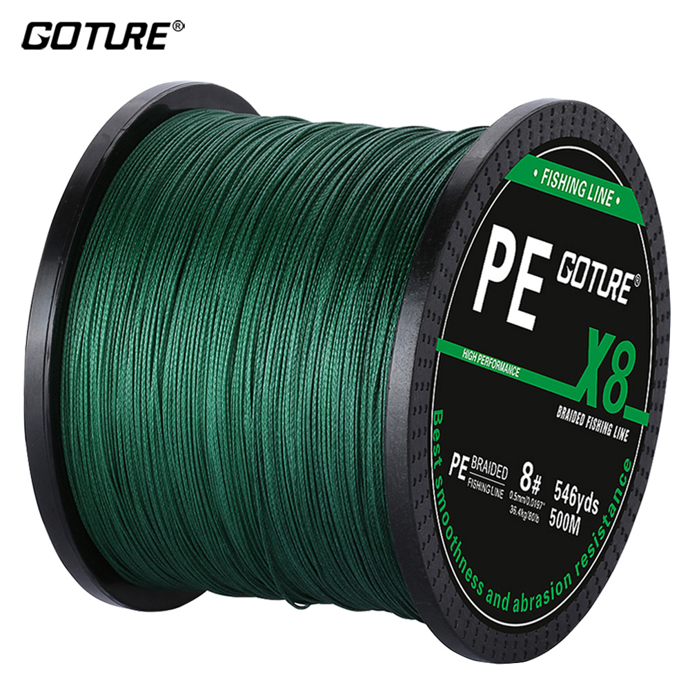 Goture 8 Strands PE Braided Fishing Line 500M Multifilament Super Strong Japan Line Wire Cord Rope
