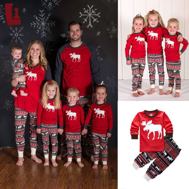 Family Matching Outfits Women Men Kids Christmas Pajamas Children Clothes  Set Baby Infant Clothing Sleepwear Pyjamas Nightwear 3d245de0e7