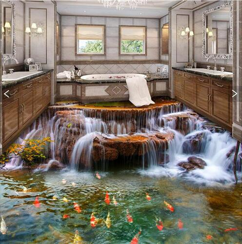 ФОТО PVC Floor Murals Bedroom 3d Wall Paper Roll River Water Fish Bathroom Flooring Mural Self-adhesive Floor Painting Wall Stickers