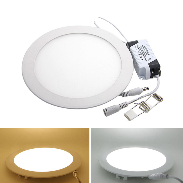 Ultra Thin Dimmable Led Panel Downlight 3w 4w 6w 9w 12w 15w 25w Pusingan LED Siling Cahaya Tersembunyi AC110-220V LED Panel Light