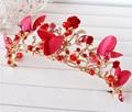 Flor roja de la vendimia de oro crystal tiara diadema de pelo de la boda accesorios de joyería nupcial partido de la corona 609