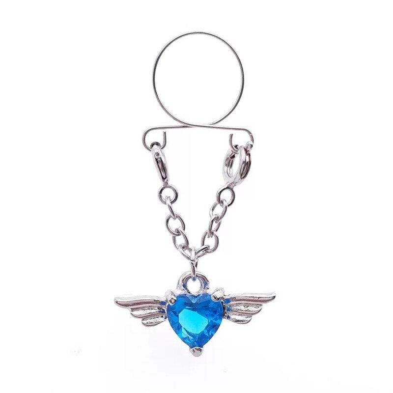 Hot Sale Blue Heart Non pierced Clip On Nipple Ring Nipple Crystal Wing Dangle Fake Nipple Adjustable Sexy Women Body Jewelry
