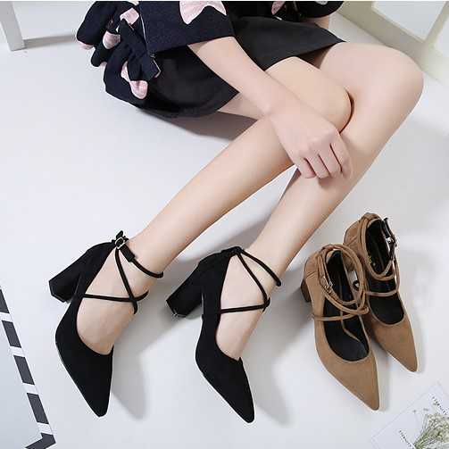 Selling Hot 2017 New Fashion Spring And Autumn Suede High Heels Thick With Pointed Single Shoes Black Tie Wild Women Shoes 35-39 new and original uc29431d uc29431 soic 8 selling with high quality