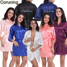 RB030 Sexy Large Size Sexy Satin Robe Bathrobe Perfect Wedding Bride Bridesmaid Rhinestone Letter Robes Dressing