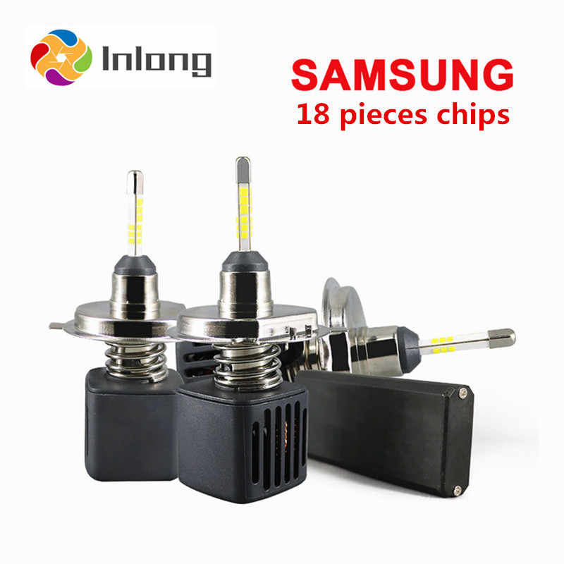 Inlong With SAMSUNG CSP Mini H7 LED H4 4 sides 10000LM 80W H1 H8 H11 LED 9005 HB3 HB4 H9 Car Headlight Bulbs 6500K Fog Light 12V